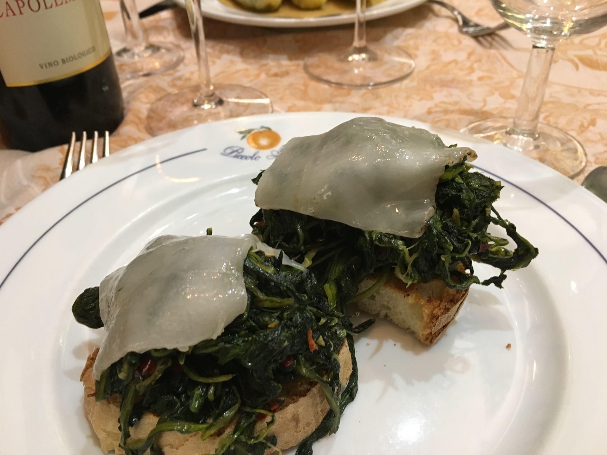 Bruschette con verdure ripassate in padella e Lardo di Colonnata