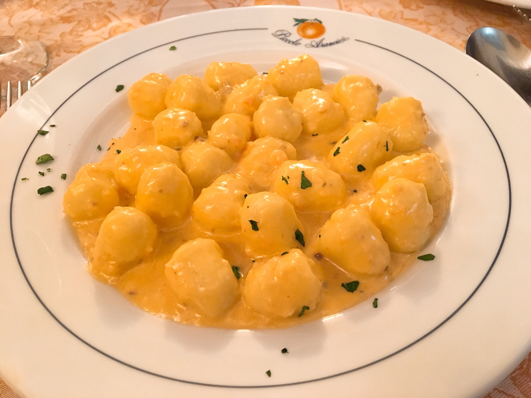 Potato Dumplings with Salmon cream sauce
